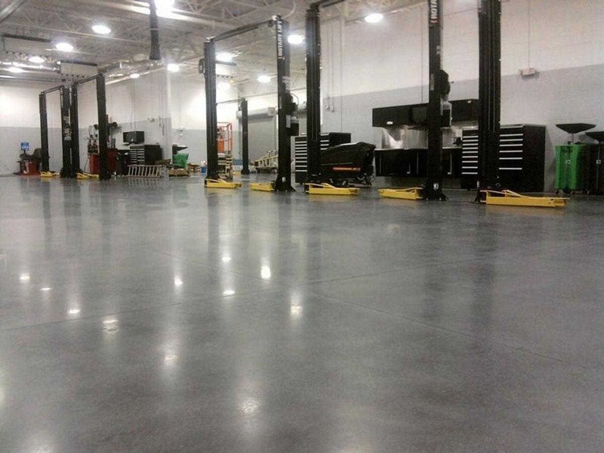 Polished Concrete - Mechanic shop flooring
